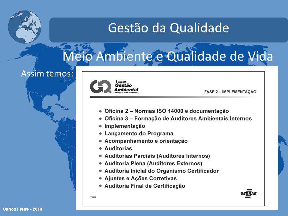 Carlos Freire - 2013 Meio Ambiente e Qualidade de Vida Gestão da Qualidade Assim temos: