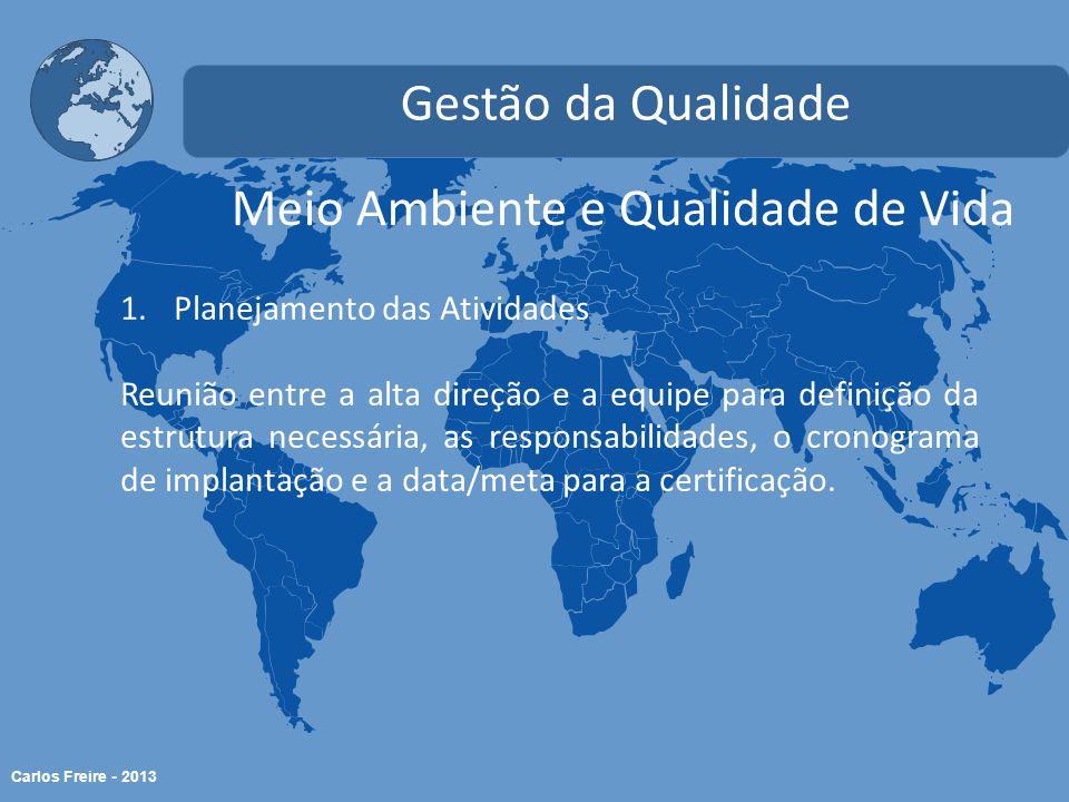 Carlos Freire - 2013 Meio Ambiente e Qualidade de Vida Gestão da Qualidade 1.Planejamento das Atividades Reunião entre a alta direção e a equipe para definição da estrutura necessária, as responsabilidades, o cronograma de implantação e a data/meta para a certificação.