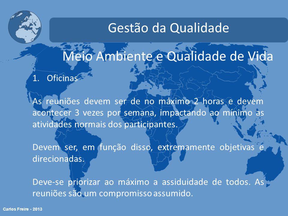 Carlos Freire - 2013 Meio Ambiente e Qualidade de Vida Gestão da Qualidade 1.Oficinas As reuniões devem ser de no máximo 2 horas e devem acontecer 3 vezes por semana, impactando ao mínimo as atividades normais dos participantes.