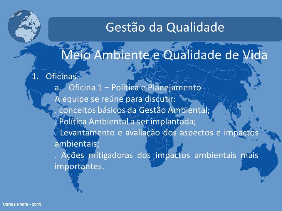 Carlos Freire - 2013 Meio Ambiente e Qualidade de Vida Gestão da Qualidade 1.Oficinas a.Oficina 1 – Política e Planejamento A equipe se reúne para discutir:.