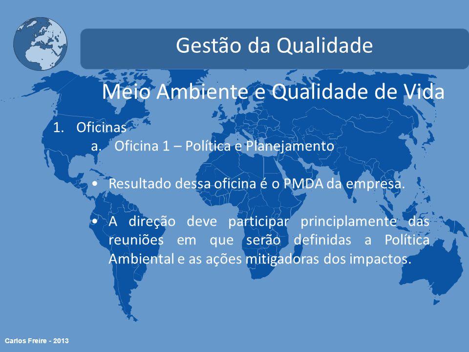 Carlos Freire - 2013 Meio Ambiente e Qualidade de Vida Gestão da Qualidade 1.Oficinas a.Oficina 1 – Política e Planejamento Resultado dessa oficina é o PMDA da empresa.