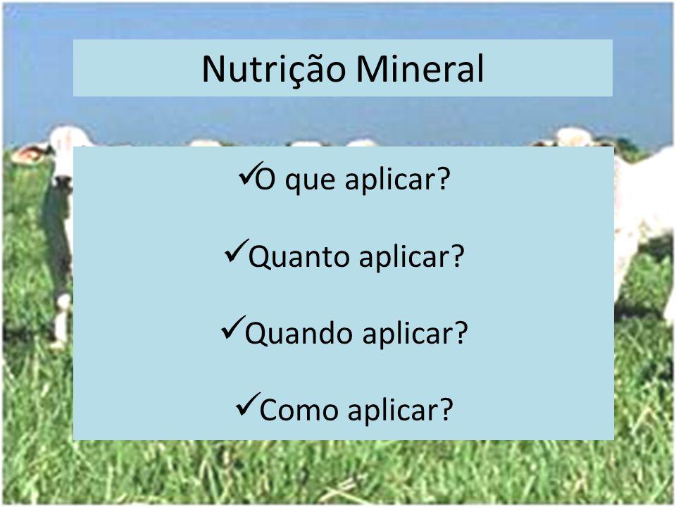 Nutrição Mineral O que aplicar? Quanto aplicar? Quando aplicar? Como aplicar?