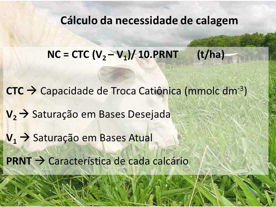 NC = CTC (V 2 – V 1 )/ 10.PRNT (t/ha) CTC  Capacidade de Troca Catiônica (mmolc dm -3 ) V 2  Saturação em Bases Desejada V 1  Saturação em Bases At