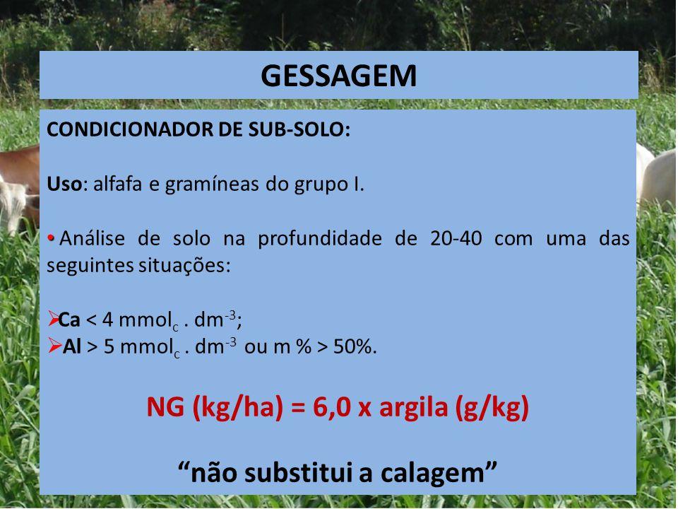 CONDICIONADOR DE SUB-SOLO: Uso: alfafa e gramíneas do grupo I. Análise de solo na profundidade de 20-40 com uma das seguintes situações:  Ca < 4 mmol