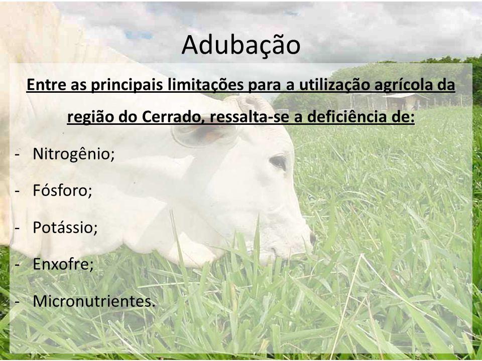 Adubação Entre as principais limitações para a utilização agrícola da região do Cerrado, ressalta-se a deficiência de: -Nitrogênio; -Fósforo; -Potássi