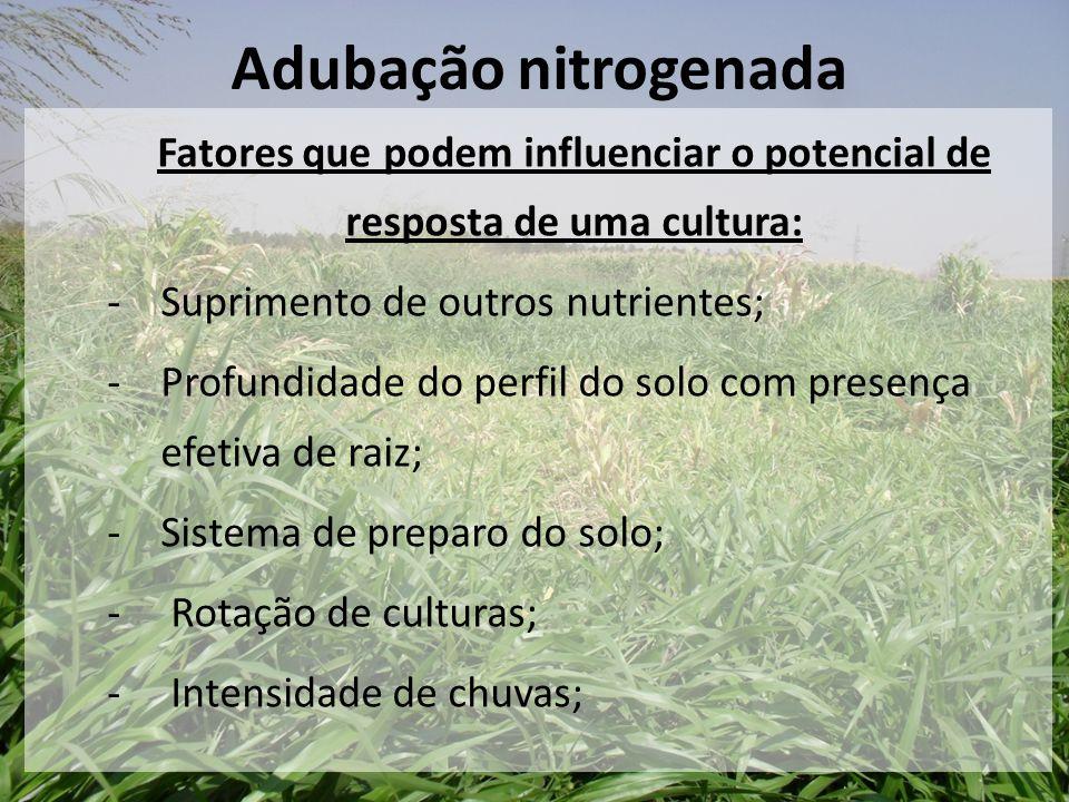 Fatores que podem influenciar o potencial de resposta de uma cultura: -Suprimento de outros nutrientes; -Profundidade do perfil do solo com presença e