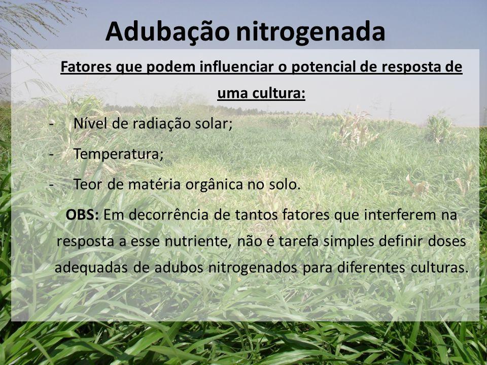 Fatores que podem influenciar o potencial de resposta de uma cultura: -Nível de radiação solar; -Temperatura; -Teor de matéria orgânica no solo. OBS: