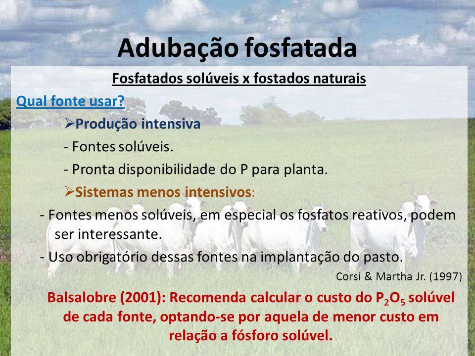 Fosfatados solúveis x fostados naturais Qual fonte usar?  Produção intensiva - Fontes solúveis. - Pronta disponibilidade do P para planta.  Sistemas