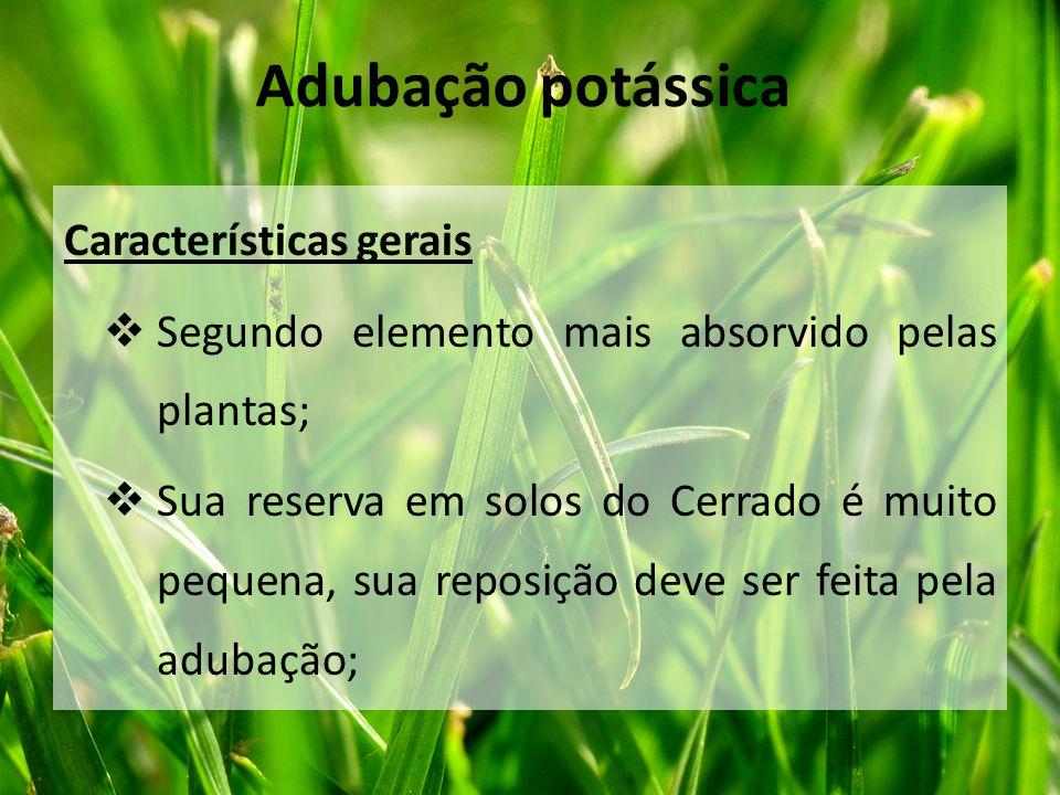 Características gerais  Segundo elemento mais absorvido pelas plantas;  Sua reserva em solos do Cerrado é muito pequena, sua reposição deve ser feit