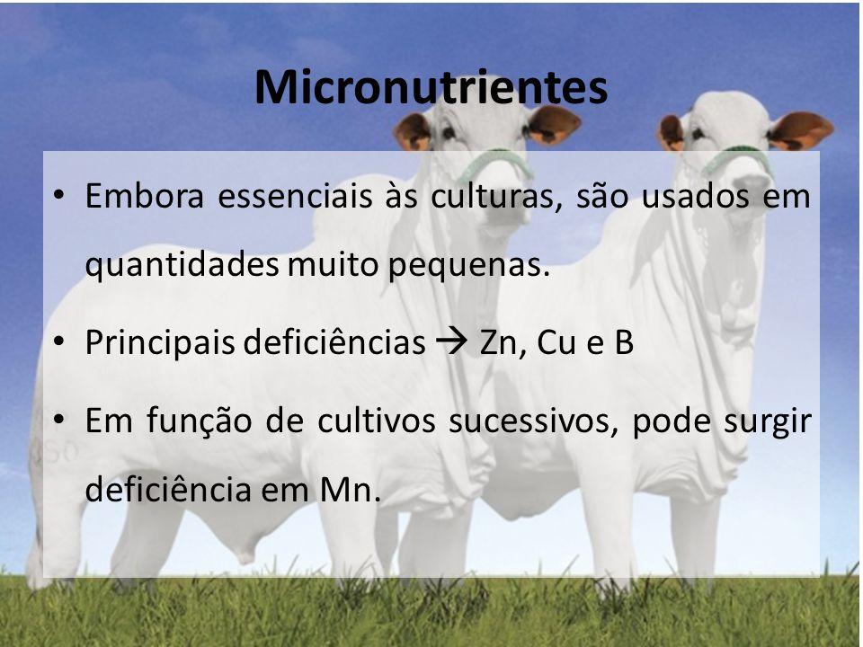 Embora essenciais às culturas, são usados em quantidades muito pequenas. Principais deficiências  Zn, Cu e B Em função de cultivos sucessivos, pode s