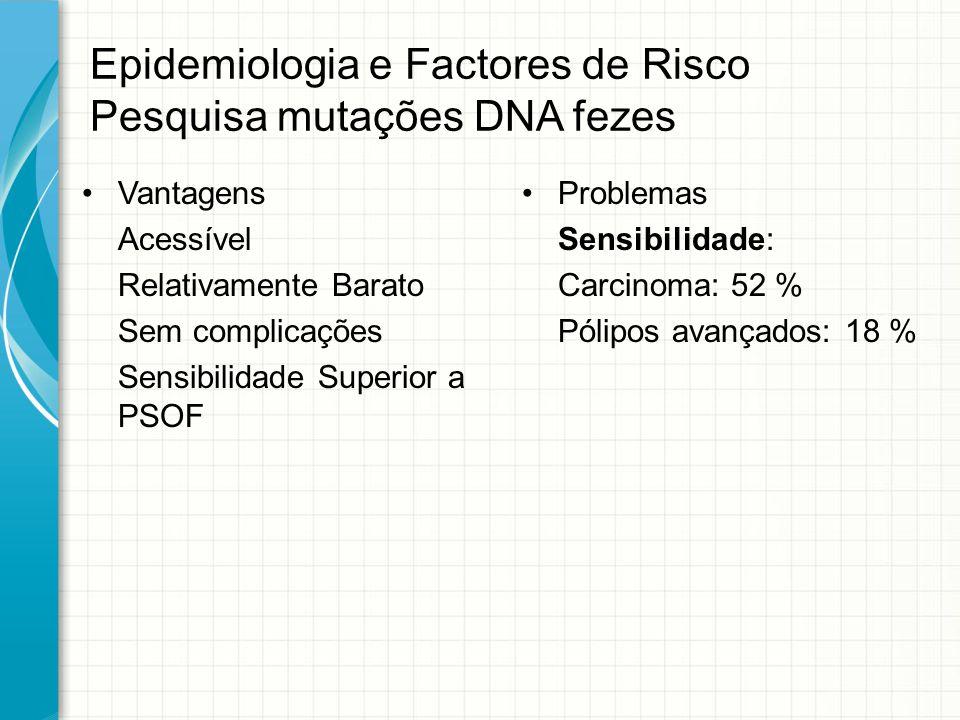 Epidemiologia e Factores de Risco Pesquisa mutações DNA fezes Vantagens Acessível Relativamente Barato Sem complicações Sensibilidade Superior a PSOF