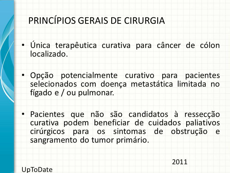 PRINCÍPIOS GERAIS DE CIRURGIA Única terapêutica curativa para câncer de cólon localizado. Opção potencialmente curativo para pacientes selecionados co