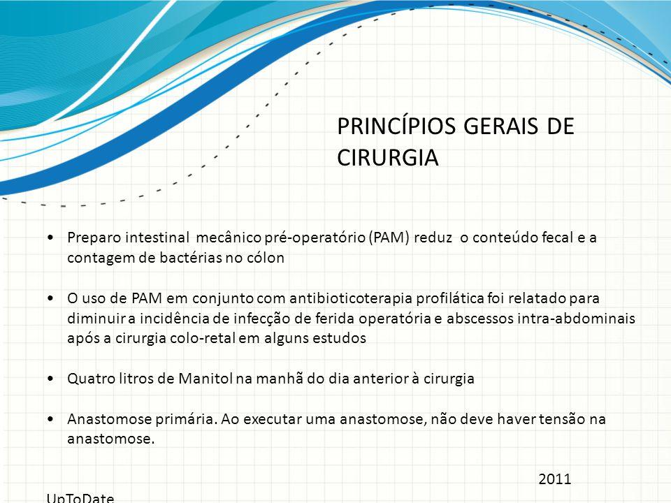 Preparo intestinal mecânico pré-operatório (PAM) reduz o conteúdo fecal e a contagem de bactérias no cólon O uso de PAM em conjunto com antibioticoter