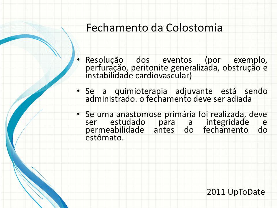 Resolução dos eventos (por exemplo, perfuração, peritonite generalizada, obstrução e instabilidade cardiovascular) Se a quimioterapia adjuvante está s