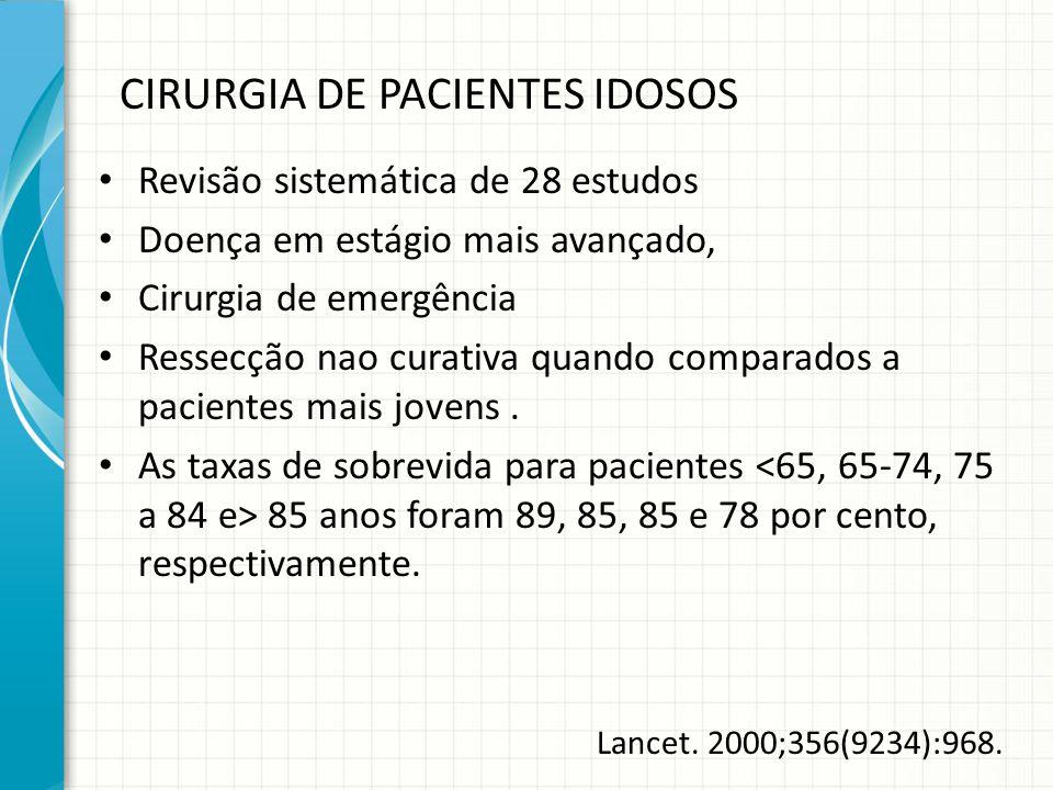 CIRURGIA DE PACIENTES IDOSOS Revisão sistemática de 28 estudos Doença em estágio mais avançado, Cirurgia de emergência Ressecção nao curativa quando c