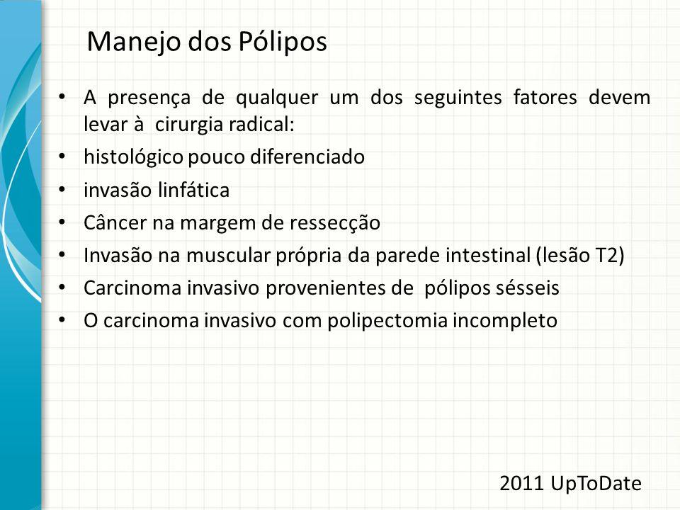 Manejo dos Pólipos A presença de qualquer um dos seguintes fatores devem levar à cirurgia radical: histológico pouco diferenciado invasão linfática Câ