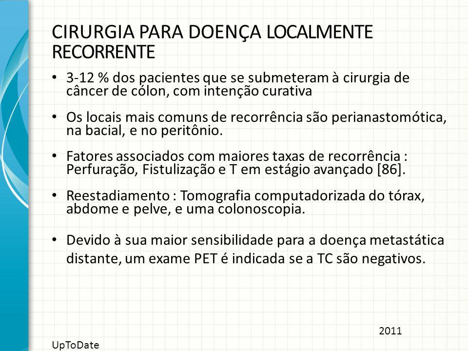 CIRURGIA PARA DOENÇA LOCALMENTE RECORRENTE 3-12 % dos pacientes que se submeteram à cirurgia de câncer de cólon, com intenção curativa Os locais mais