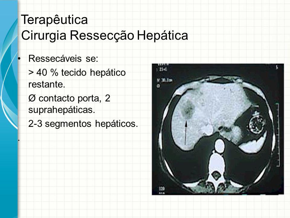 Terapêutica Cirurgia Ressecção Hepática Ressecáveis se: > 40 % tecido hepático restante. Ø contacto porta, 2 suprahepáticas. 2-3 segmentos hepáticos..