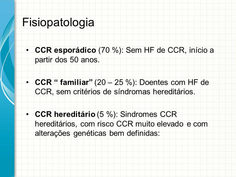 """Fisiopatologia CCR esporádico (70 %): Sem HF de CCR, início a partir dos 50 anos. CCR """" familiar"""" (20 – 25 %): Doentes com HF de CCR, sem critérios de"""
