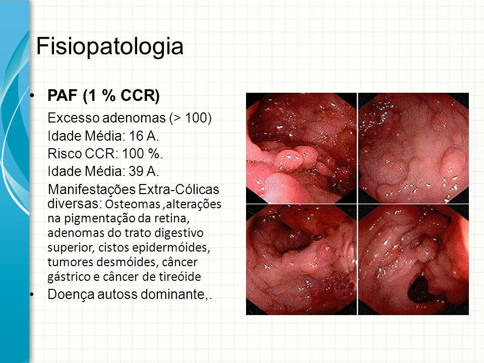 Fisiopatologia PAF (1 % CCR) Excesso adenomas (> 100) Idade Média: 16 A. Risco CCR: 100 %. Idade Média: 39 A. Manifestações Extra-Cólicas diversas: Os