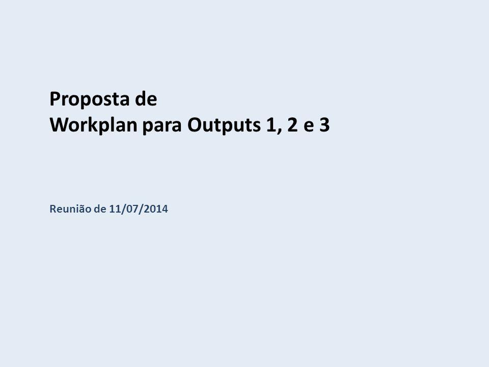 Proposta de Workplan para Outputs 1, 2 e 3 Reunião de 11/07/2014
