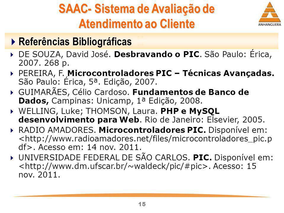 15  Referências Bibliográficas  DE SOUZA, David José. Desbravando o PIC. São Paulo: Érica, 2007. 268 p.  PEREIRA, F. Microcontroladores PIC – Técni
