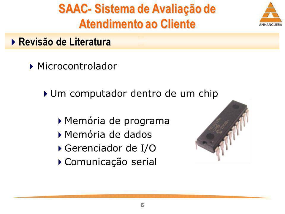 6  Revisão de Literatura  Microcontrolador  Um computador dentro de um chip  Memória de programa  Memória de dados  Gerenciador de I/O  Comunic
