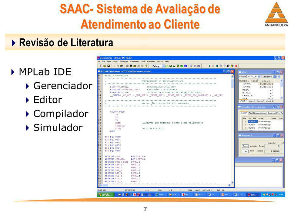 7 SAAC- Sistema de Avaliação de Atendimento ao Cliente  Revisão de Literatura  MPLab IDE  Gerenciador  Editor  Compilador  Simulador
