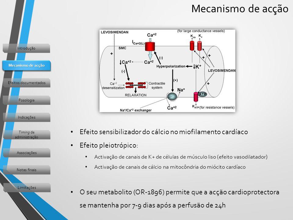 Mecanismo de acção Efeito sensibilizador do cálcio no miofilamento cardíaco Efeito pleiotrópico: Activação de canais de K+ de células de músculo liso (efeito vasodilatador) Activação de canais de cálcio na mitocôndria do miócito cardíaco O seu metabolito (OR-1896) permite que a acção cardioprotectora se mantenha por 7-9 dias após a perfusão de 24h Introdução Mecanismo de acção Efeitos documentados Posologia Indicações Timing de administração Associações Notas finais Limitações