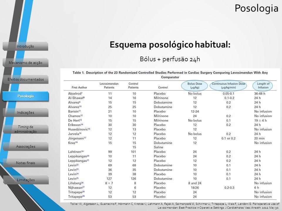 Posologia Esquema posológico habitual: Bólus + perfusão 24h Toller W, Algotsson L, Guarracino F, Hörmann C, Knotzer J, Lehmann A, Rajek A, Salmenperä M, Schirmer U, Tritapepe L, Weis F, Landoni G.