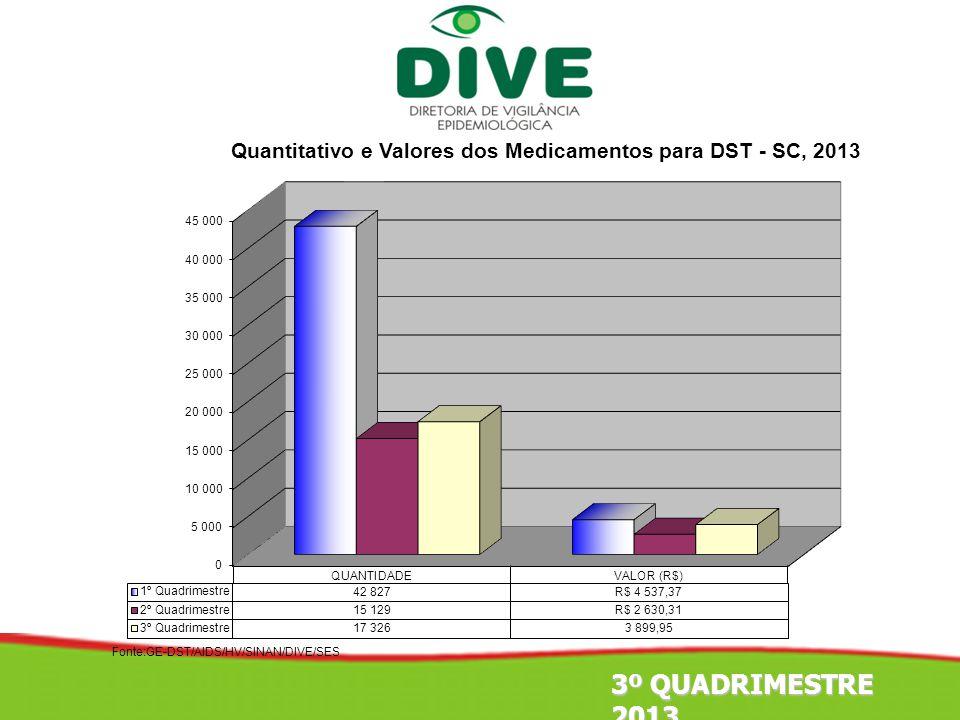 Fonte:GE-DST/AIDS/HV/SINAN/DIVE/SES 3º QUADRIMESTRE 2013