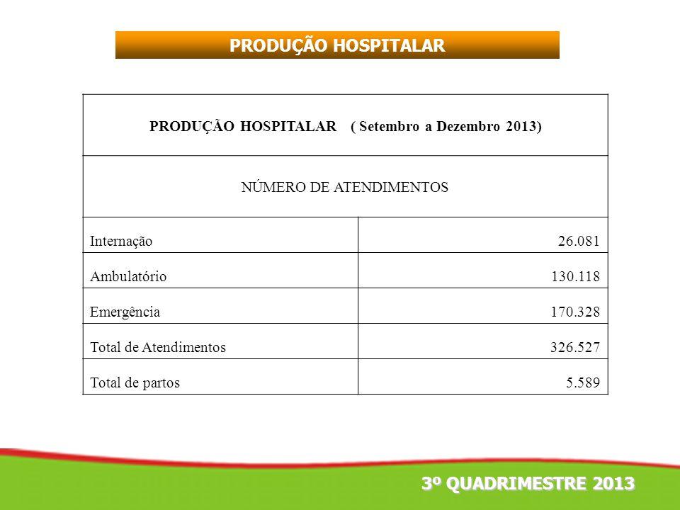 PRODUÇÃO HOSPITALAR ( Setembro a Dezembro 2013) NÚMERO DE ATENDIMENTOS Internação26.081 Ambulatório130.118 Emergência170.328 Total de Atendimentos326.