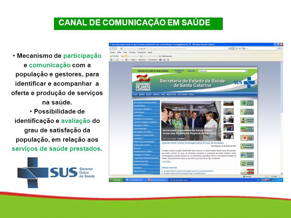 CANAL DE COMUNICAÇÃO EM SAÚDE Mecanismo de participação e comunicação com a população e gestores, para identificar e acompanhar a oferta e produção de