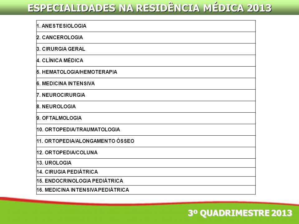 ESPECIALIDADES NA RESIDÊNCIA MÉDICA 2013 3º QUADRIMESTRE 2013 1. ANESTESIOLOGIA 2. CANCEROLOGIA 3. CIRURGIA GERAL 4. CLÍNICA MÉDICA 5. HEMATOLOGIA/HEM