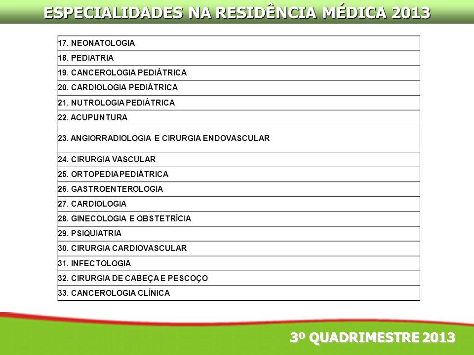 ESPECIALIDADES NA RESIDÊNCIA MÉDICA 2013 3º QUADRIMESTRE 2013 17. NEONATOLOGIA 18. PEDIATRIA 19. CANCEROLOGIA PEDIÁTRICA 20. CARDIOLOGIA PEDIÁTRICA 21