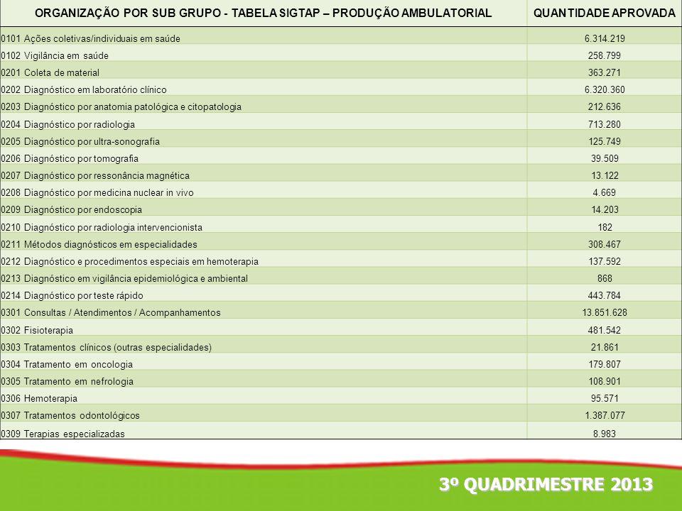 3º QUADRIMESTRE 2013 ORGANIZAÇÃO POR SUB GRUPO - TABELA SIGTAP – PRODUÇÃO AMBULATORIALQUANTIDADE APROVADA 0101 Ações coletivas/individuais em saúde6.3