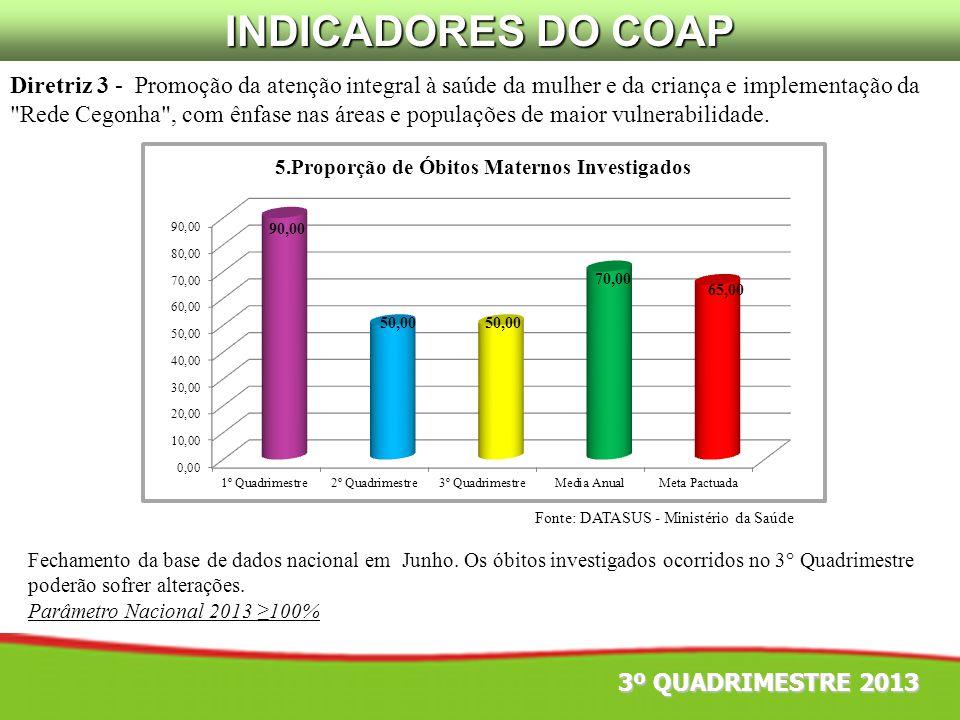 Fonte: DATASUS - Ministério da Saúde Diretriz 3 - Promoção da atenção integral à saúde da mulher e da criança e implementação da