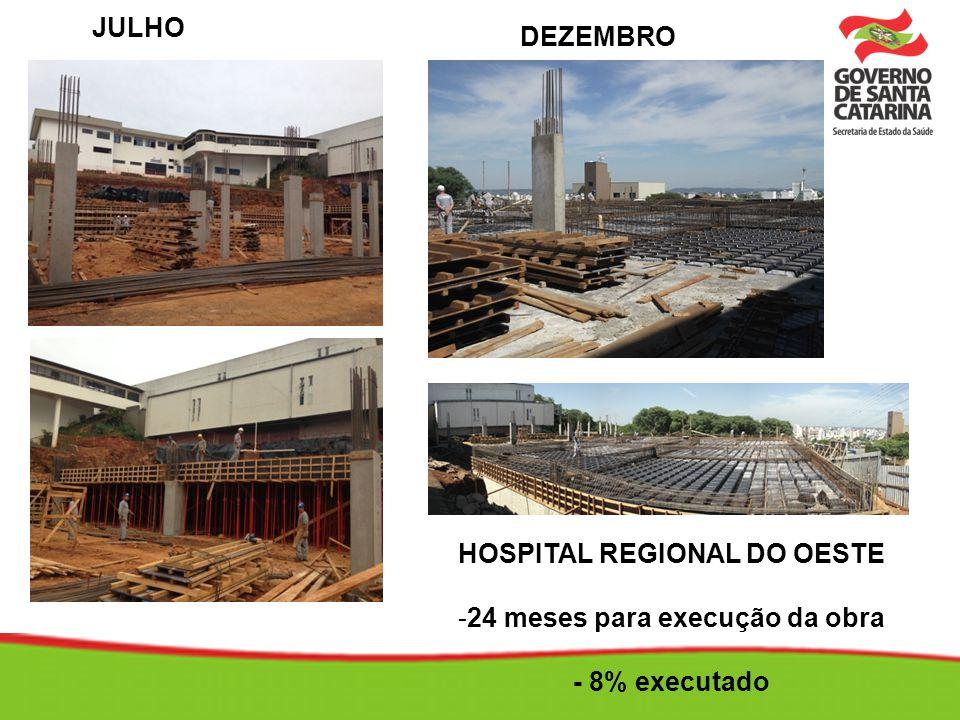 HOSPITAL REGIONAL DO OESTE -24 meses para execução da obra - 8% executado JULHO DEZEMBRO