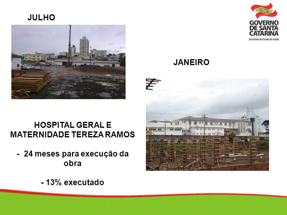 HOSPITAL GERAL E MATERNIDADE TEREZA RAMOS - 24 meses para execução da obra - 13% executado JULHO JANEIRO