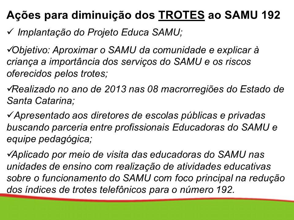Ações para diminuição dos TROTES ao SAMU 192 Implantação do Projeto Educa SAMU; Objetivo: Aproximar o SAMU da comunidade e explicar à criança a import