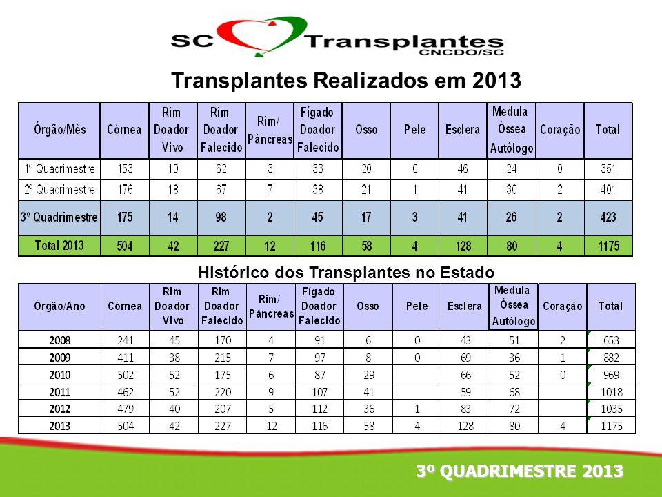 Transplantes Realizados em 2013 Histórico dos Transplantes no Estado 3º QUADRIMESTRE 2013