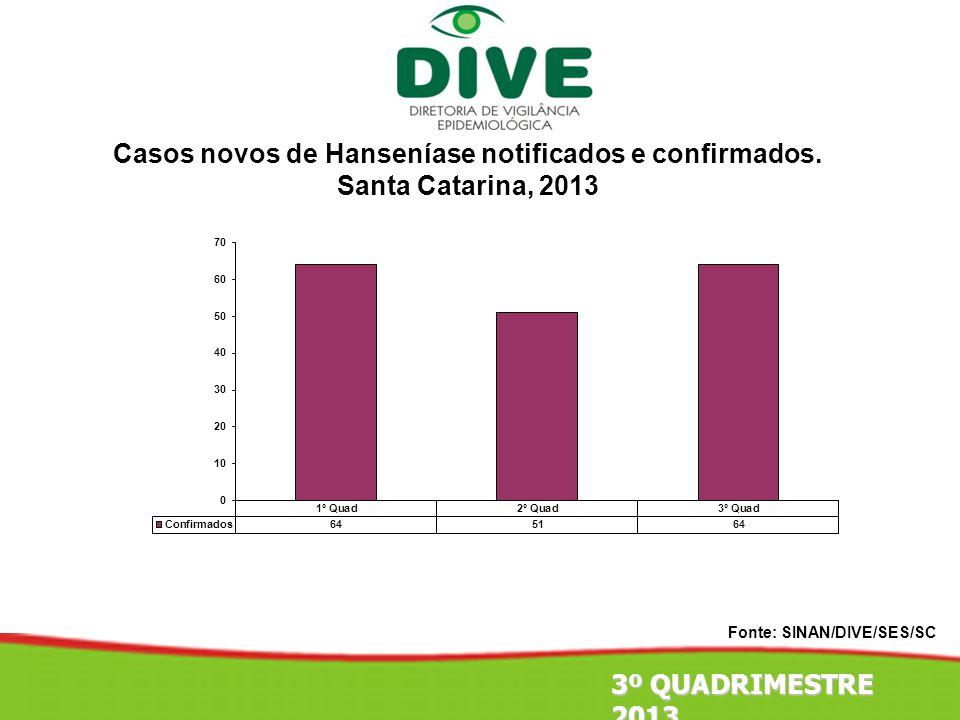 Fonte: SINAN/DIVE/SES/SC 3º QUADRIMESTRE 2013 Casos novos de Hanseníase notificados e confirmados. Santa Catarina, 2013