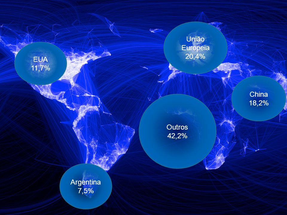 6 União Europeia 20,4% China 18,2% EUA 11,7% Argentina 7,5% Outros 42,2%