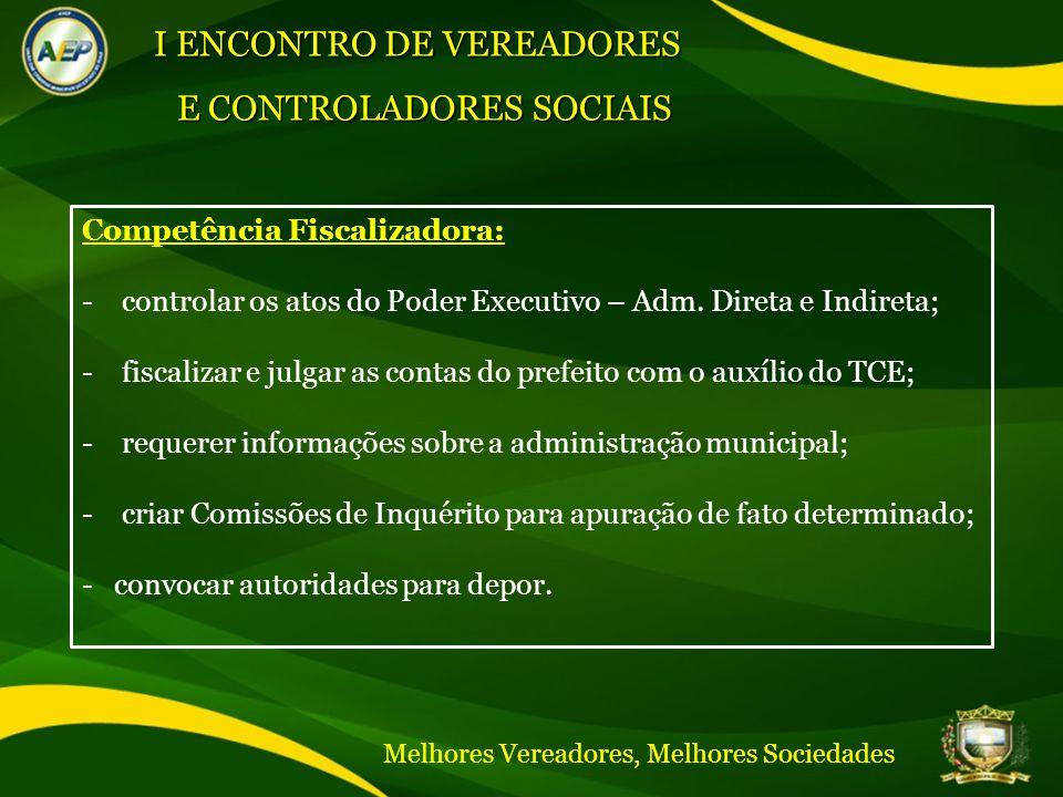 Competência Fiscalizadora: -controlar os atos do Poder Executivo – Adm.