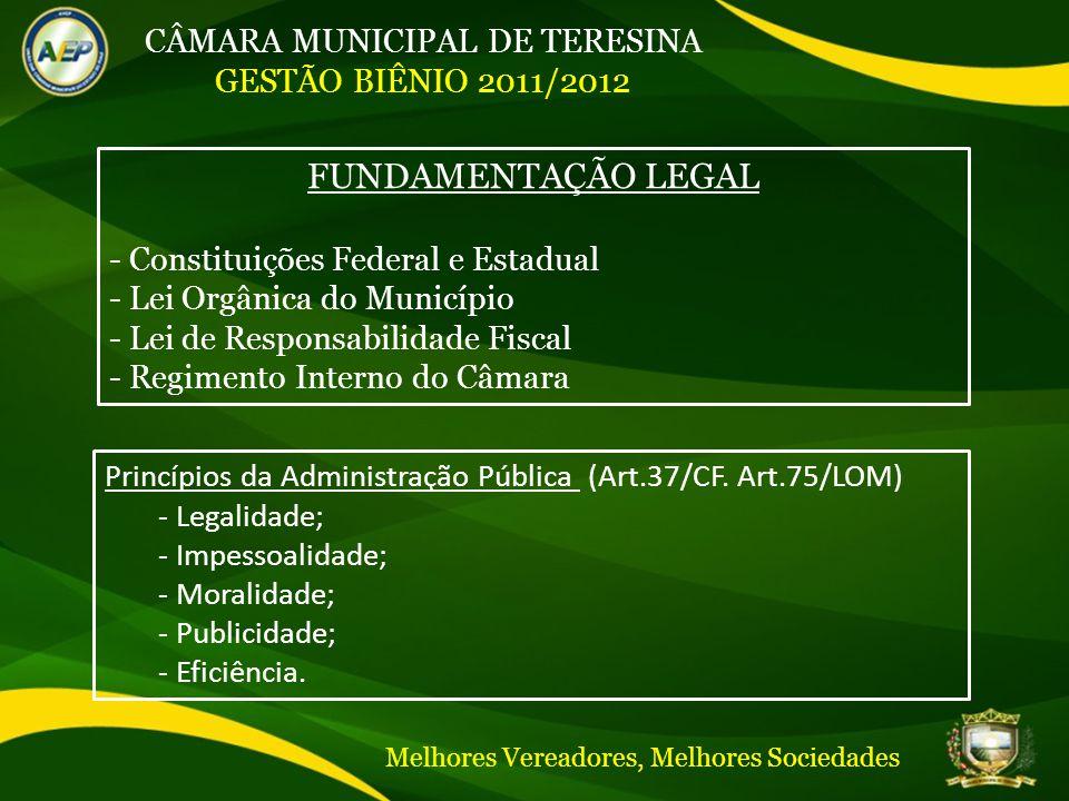 CÂMARA MUNICIPAL DE TERESINA GESTÃO BIÊNIO 2011/2012 FUNDAMENTAÇÃO LEGAL - Constituições Federal e Estadual - Lei Orgânica do Município - Lei de Responsabilidade Fiscal - Regimento Interno do Câmara Princípios da Administração Pública (Art.37/CF.