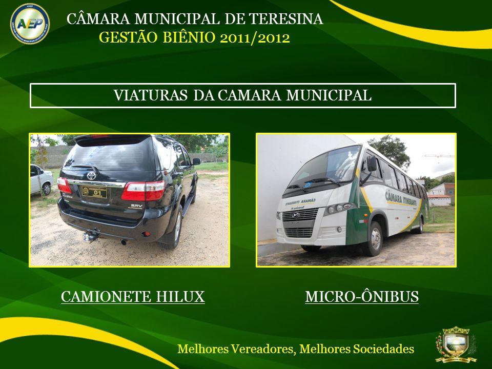 CÂMARA MUNICIPAL DE TERESINA GESTÃO BIÊNIO 2011/2012 VIATURAS DA CAMARA MUNICIPAL CAMIONETE HILUXMICRO-ÔNIBUS Melhores Vereadores, Melhores Sociedades