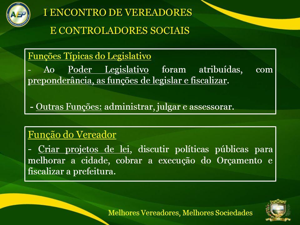 CÂMARA MUNICIPAL DE TERESINA GESTÃO BIÊNIO 2011/2012 Funções Típicas do Legislativo - Ao Poder Legislativo foram atribuídas, com preponderância, as funções de legislar e fiscalizar.