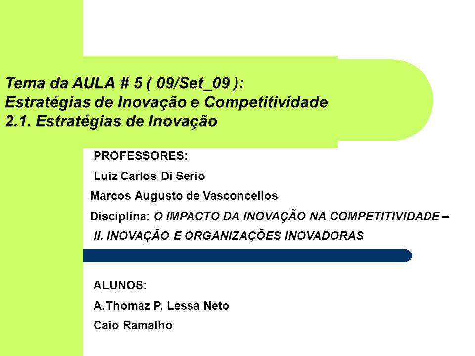 Tema da AULA # 5 ( 09/Set_09 ): Estratégias de Inovação e Competitividade 2.1.