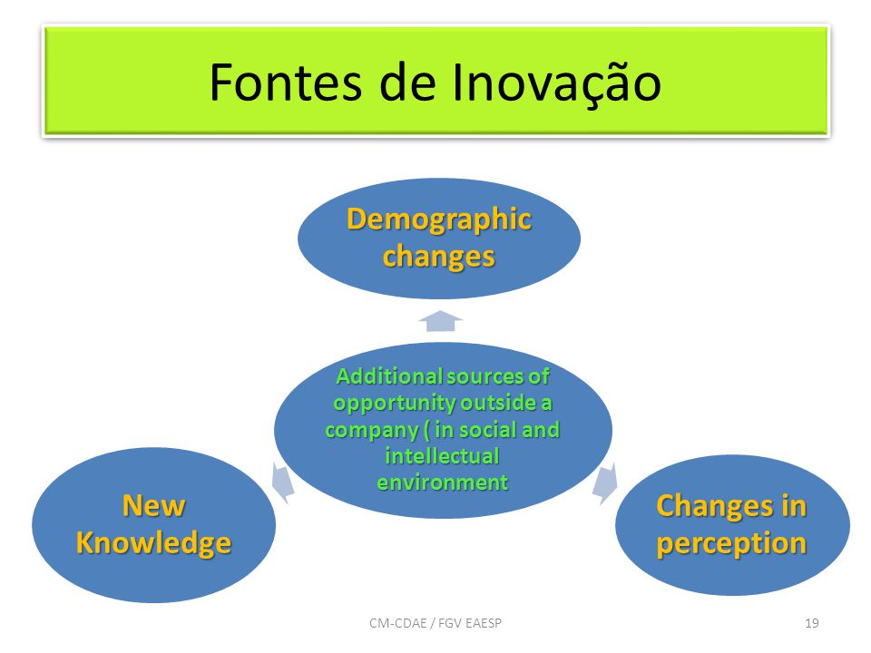 Fontes de Inovação 19CM-CDAE / FGV EAESP Additional sources of opportunity outside a company ( in social and intellectual environment Demographic chan