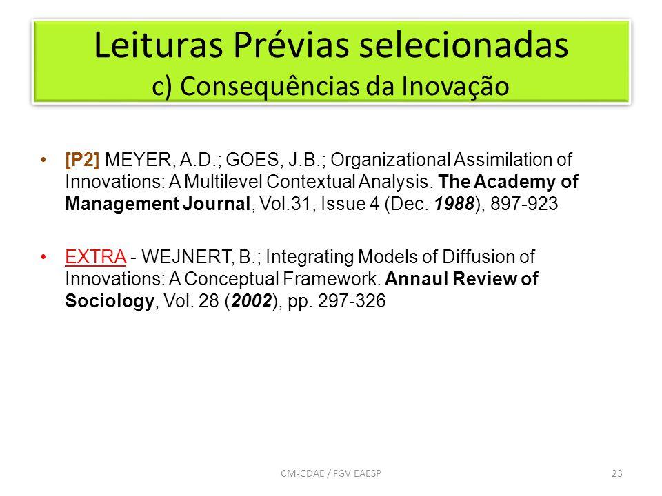 Leituras Prévias selecionadas c) Consequências da Inovação 23CM-CDAE / FGV EAESP [P2] MEYER, A.D.; GOES, J.B.; Organizational Assimilation of Innovations: A Multilevel Contextual Analysis.